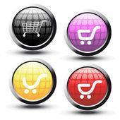 вектор кнопки с покупки тележки — Cтоковый вектор