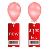 Vector new and buy tags with fly balloon — Cтоковый вектор