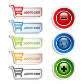 Vector add delete shopping cart item — Stock Vector