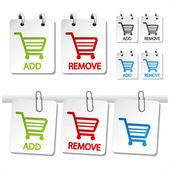 Vector agregar eliminar elemento de carrito de compras — Vector de stock