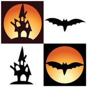 Símbolos de halloween - castillo y bate del vector — Vector de stock