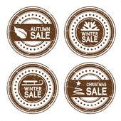 вектор осень, зима, новогодние продажи марок — Cтоковый вектор