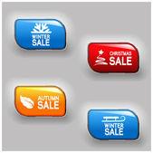 Vector autumn, winter, Christmas sale buttons — Stock Vector