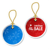 Vector Christmas ornament tags with snowflakes — Stockvektor