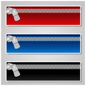 Vector kleur banners met rits — Stockvector