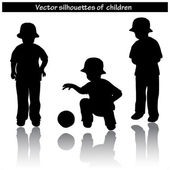 Vector black silhouettes of child — Stock Vector