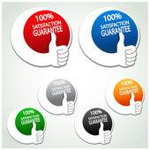 Garantie de satisfaction de vecteur étiquettes avec main de geste — Vecteur