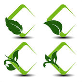 Vector natural symbols with leaf — Stock Vector