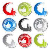 Vector satisfaction guarantee stickers - gesture hand — Stock Vector