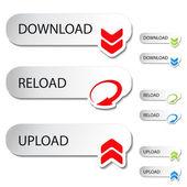Vector buttons - download, reload, upload — Stock Vector