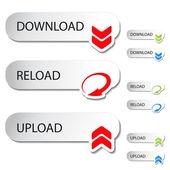 Vector buttons - download, reload, upload — Stock Vector