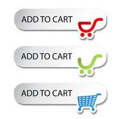 Vector shopping cart item - add buttons — Stock Vector