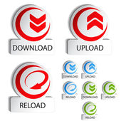 Vector circular buttons - download, reload, upload — Stock Vector
