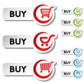 Vettore commerciale elemento carrello - acquista pulsante — Vettoriale Stock
