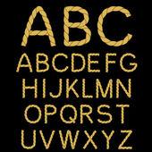 Vector rope font alphabet — Stock Vector