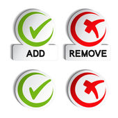 Vector add remove circular item — Stock Vector