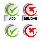 Vector add remove circular item — Stock Vector