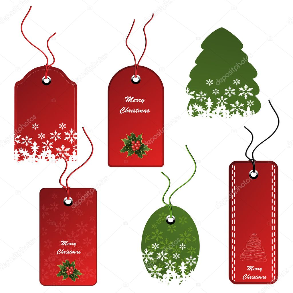 Vector set of Christmas tags - illustration — Stock Vector #11625910