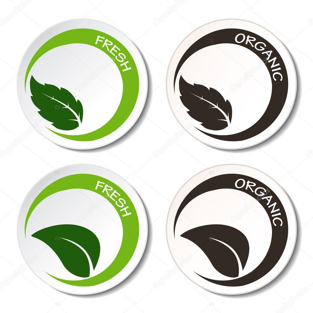Vector fresh and organic symbols with leaf — Stock Vector ... Organic Leaf Symbol