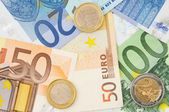 Euro bills and some coins — Stock Photo
