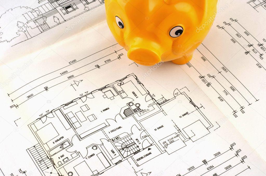 plan de construction avec la tirelire comme symbole pour la construction d 39 une maison. Black Bedroom Furniture Sets. Home Design Ideas