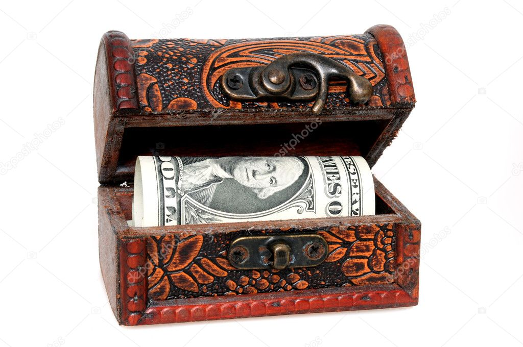 Treasure chest with dollar in front of a white background — Stock Photo #11814939