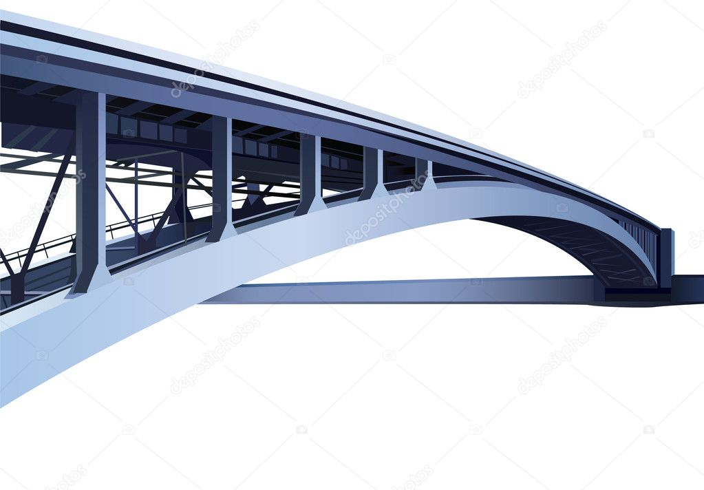 Blue large metal bridge vector  Stock Vector #11567732