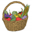 Basket with different vegetables color vector — Stock Vector #11649579