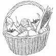 Basket with different vegetables vector — ストックベクタ