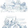 图库矢量图片: Countryside landscapes with church and houses vector