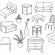 Furniture and decoration vector set — Stockvectorbeeld