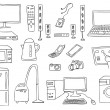 Household technics vector set — Stockvektor