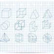Scheme of geometrical objects on copybook paper vector — Stockvektor
