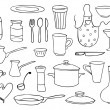 Household objects and dishes vector set — Vector de stock