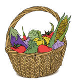 Basket with different vegetables color vector — Stock Vector