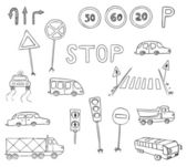 Traffic and transportation vector set — Stok Vektör