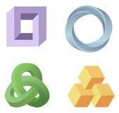 Illusione ottica simboli vettoriali — Vettoriale Stock