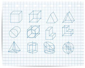 Scheme of geometrical objects on copybook paper vector — Stock Vector