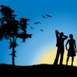 Royalty-Free Stock Vector Image: Man and girl standing on hill near tree, blue background