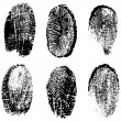 Many different black fingerprints, vector — Imagens vectoriais em stock