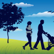 Royalty-Free Stock Vector Image: Family with two children and carriage walking on field near tree