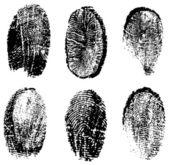 Many different black fingerprints, vector — Vector de stock