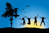 Four friends jumping on field near tree, blue sky — Stock Vector