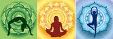 Silhouette of yoga girls on bright mandala backgrounds, vector — Stock Vector