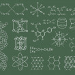 Physics and chemistry on green blackboard vector set - Stock Vector