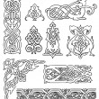 Stock Vector: Antique old Russian ornaments vector set