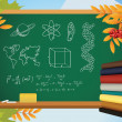 School autumn background with symbols on blackboard, books and y — Stock Vector