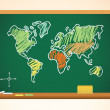 School background with geography map drawing on blackboard, vect - Stock Vector