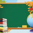 School autumn background with blackboard, globe, books and yello - Stock Vector