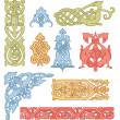 Stock Vector: Celtic color ornaments vector set